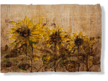 """Girasoles"", 2012, ink on papyrus, 40 x 61 cm"